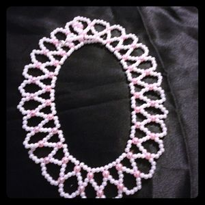White and Pink Beaded Necklace